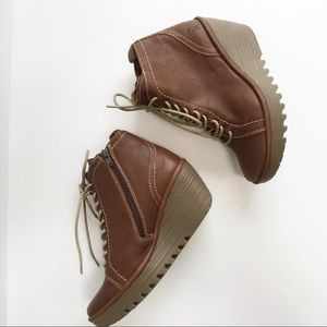 Fly London wedge leather booties NEVER Worn 38